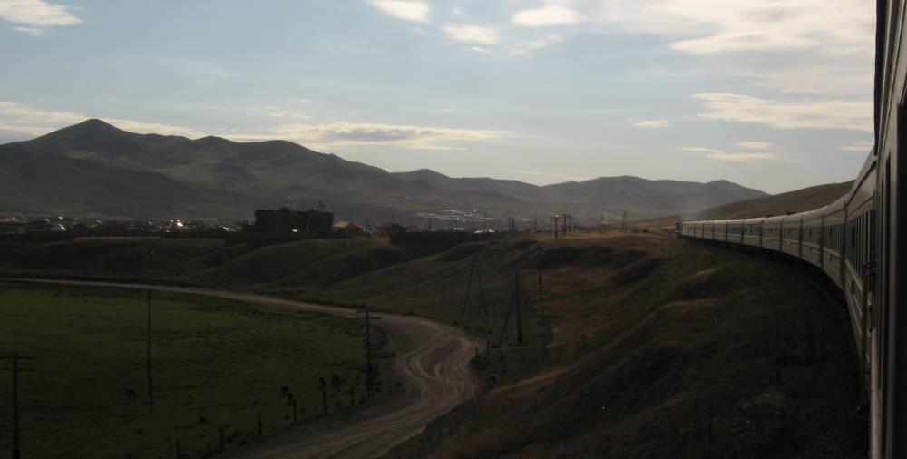 treno Transiberiana in Mongolia dal finestrino