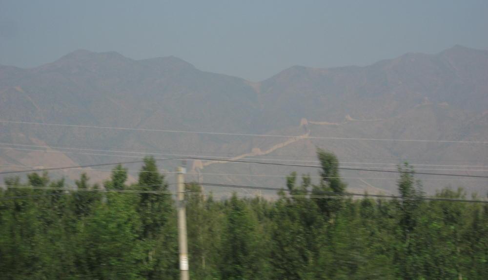 visione della Grande Muraglia Cinese da treno Transiberiana